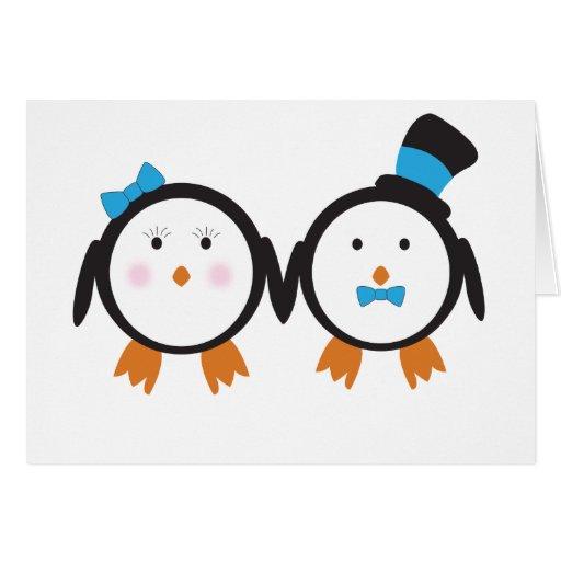 Dapper Penguin Couple Card
