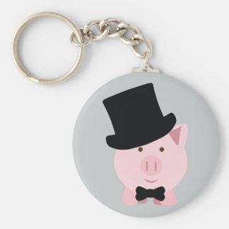 Dapper Pig Basic Round Button Keychain