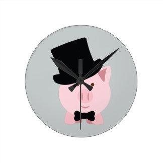 Dapper Pig Round Clock