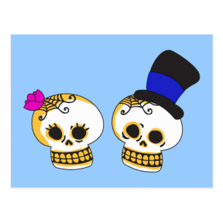 Dapper Skeleton Couple Postcard
