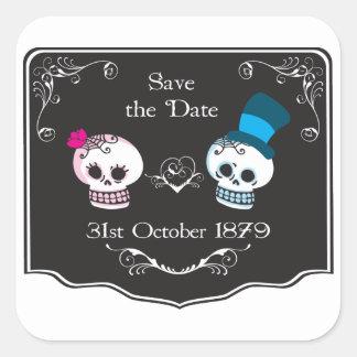 Dapper Skull Wedding Couple Square Sticker