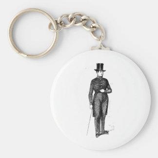 Dapper Young Gentleman Basic Round Button Keychain