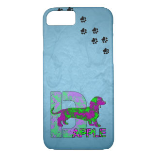 Dapple Dachshund in Purple and Green iPhone 7 Case