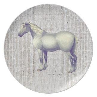 Dapple el caballo gris de Percheron Plato De Cena