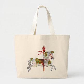 Dapple el caballo gris del carrusel bolsa tela grande