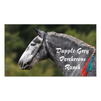 Dapple el retrato gris del caballo de Percheron Tarjetas De Visita