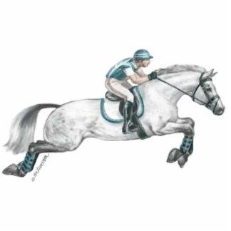 Dapple el salto gris del caballo de Eventing Escultura Fotográfica