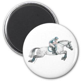 Dapple el salto gris del caballo de Eventing Imán Redondo 5 Cm