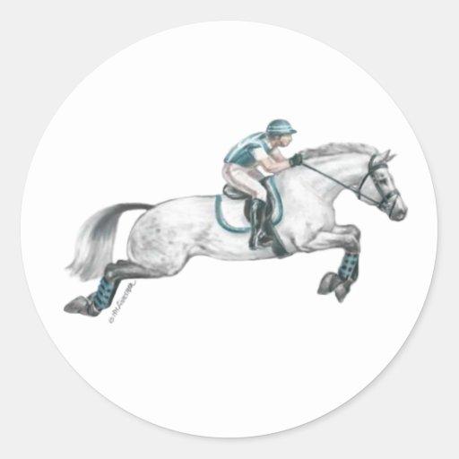 Dapple el salto gris del caballo de Eventing Pegatina Redonda