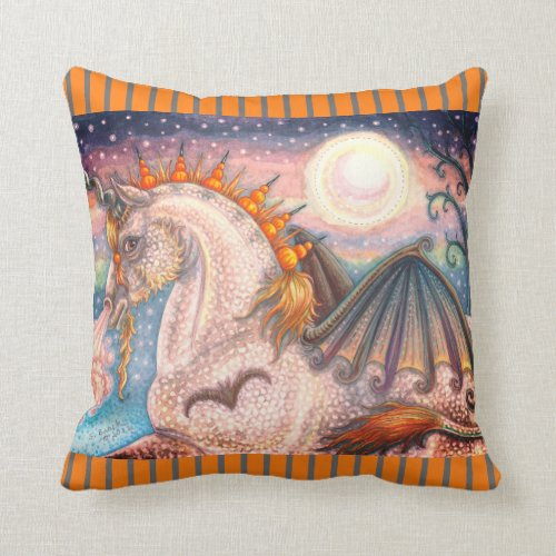 DAPPLE GOTH UNICORN, HALLOWEEN HORSE THROW PILLOW