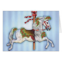 Dapple Gray Carousel Horse Card