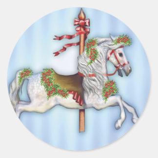 Dapple Gray Carousel Horse Classic Round Sticker
