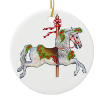 Dapple Gray Carousel Horse Clear Ceramic Ornament