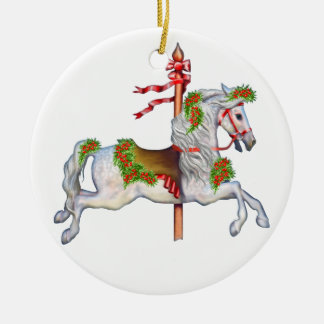Dapple Gray Carousel Horse Clear Double-Sided Ceramic Round Christmas Ornament