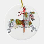 Dapple Gray Carousel Horse Clear Ornaments