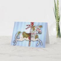 Dapple Gray Carousel Horse Holiday Card