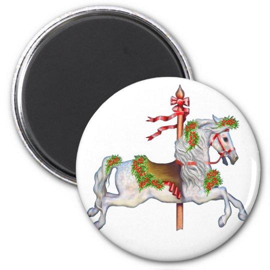 Dapple Gray Carousel Horse Magnet