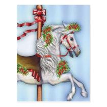 Dapple Gray Carousel Horse Postcard