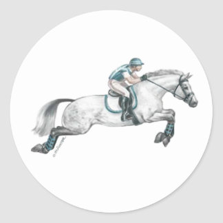 Dapple Grey Eventing Horse Jumping Classic Round Sticker