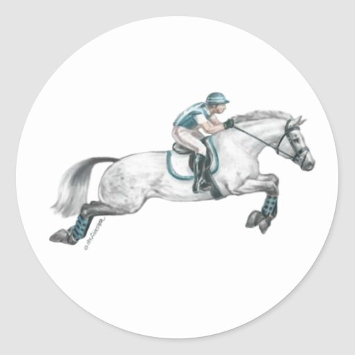Dapple Grey Eventing Horse Jumping Classic Round Sticker