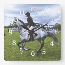 Dapple Grey Horse And Rider Square Wall Clock