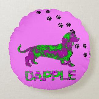 Dapple Purple and Green Dachshund Round Pillow