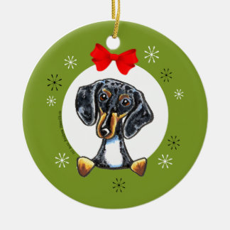 Dapple Tricolor Smooth Dachshund Christmas Classic Round Ceramic Ornament