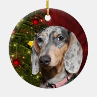 Dappled Dachshund Christmas Ceramic Ornament