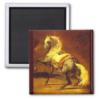 DAPPLED GREY HORSE , Gold Yellow Brown Magnet