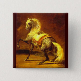 DAPPLED GREY HORSE , Gold Yellow Brown Pinback Button