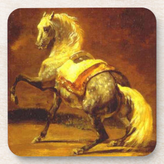 DAPPLED GREY HORSE , Gold Yellow Drink Coaster