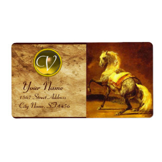 DAPPLED GREY HORSE MONOGRAM , brown gold yellow Label