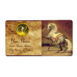 DAPPLED GREY HORSE MONOGRAM , brown gold yellow Custom Shipping Label