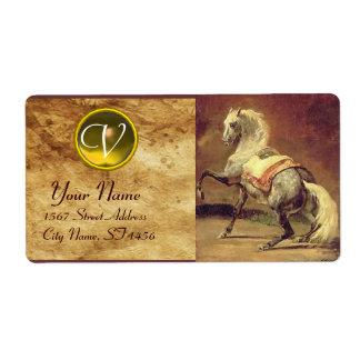DAPPLED GREY HORSE MONOGRAM , brown gold yellow Label
