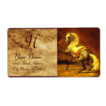 DAPPLED GREY HORSE MONOGRAM , brown, gold yellow Custom Shipping Labels