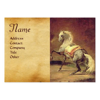 DAPPLED GREY HORSE Parchment Monogram Business Card Template
