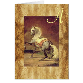 DAPPLED GREY HORSE PARCHMENT Monogram Card