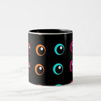dar eyes watch you Two-Tone coffee mug