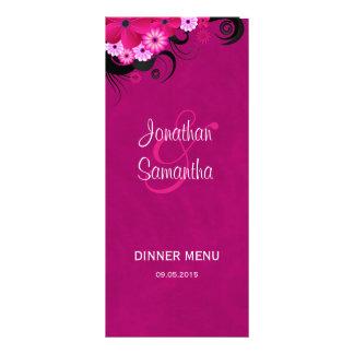 Dar Fuchsia Floral Wedding Dinner Menu Cards