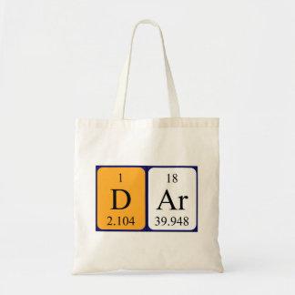 Dar periodic table name tote bag