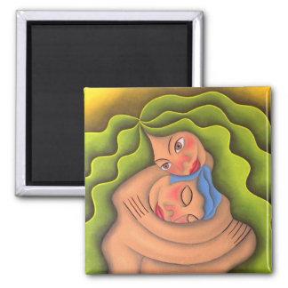 Dar y recibir pintura óleo arte 2 inch square magnet