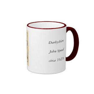 """Darbyshire"" Derbyshire County Map, England Ringer Mug"