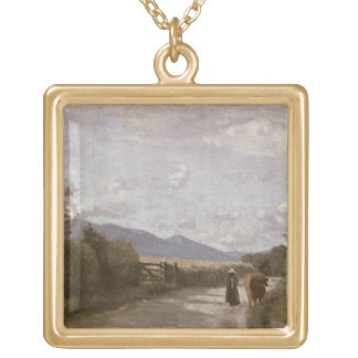 Dardagny, Morning, c.1853 (oil on canvas) Square Pendant Necklace