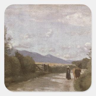 Dardagny, Morning, c.1853 (oil on canvas) Square Sticker