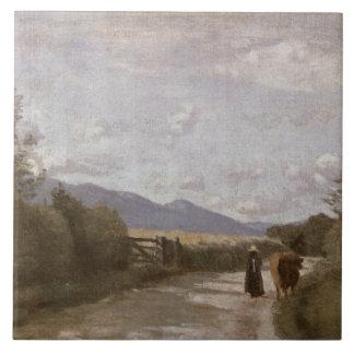 Dardagny, Morning, c.1853 (oil on canvas) Tile