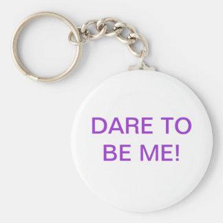 Dare me keys basic round button keychain
