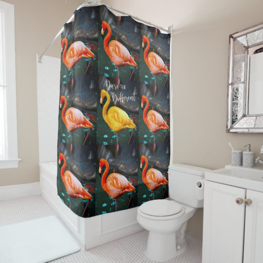 U201cDareu201d Quote Orange Pink U0026 Yellow Flamingos Photo Shower Curtain Amazing Pictures