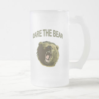 Dare the Bear 16 Oz Frosted Glass Beer Mug