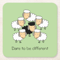Dare To Be Different Black Sheep Square Paper Coaster