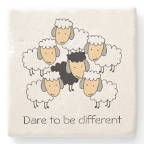 Dare To Be Different Black Sheep Stone Coaster